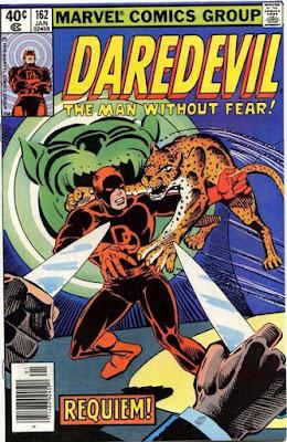 Daredevil #162, vs a leopard, steve ditko art, cover