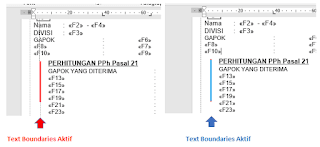 perbedaan setelah mengaktifkan text boundaries
