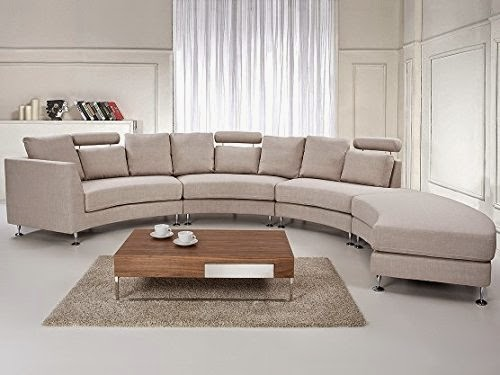 Beliani Round Beige Curved Sectional Sofa Leather