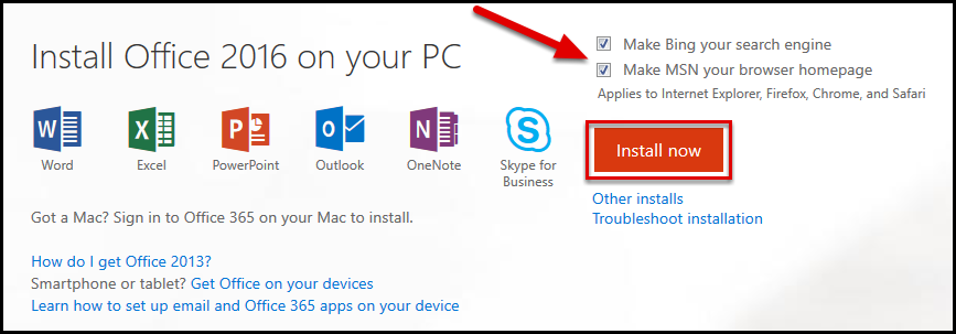 How to install or reinstall Office 365 or Office 2016 on