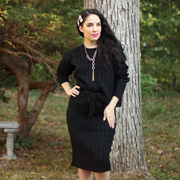 Shein Black Sweater Skirt Set