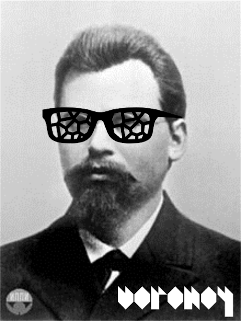 Georgy Voronoy wearing sunglasses with Voronoi diagram lenses