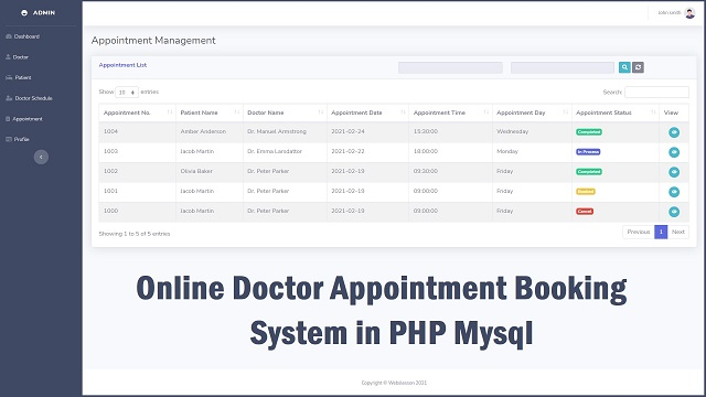 Online Doctor Appointment System Project in PHP Mysql