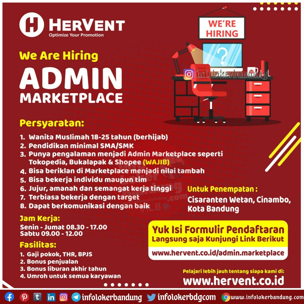 Lowongan Kerja Admin Marketplace Hervent Bandung Januari 2021