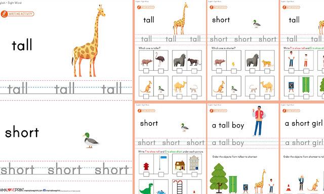 Mama Love Print 自製工作紙 - 英文簡單相反詞 Sight Opposite Words Level 1 - 英文幼稚園工作紙  Kindergarten English Worksheet Free Download