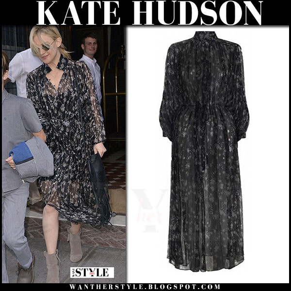 Kate Hudson in black sheer floral print maxi dress zimmermann sakura what she wore