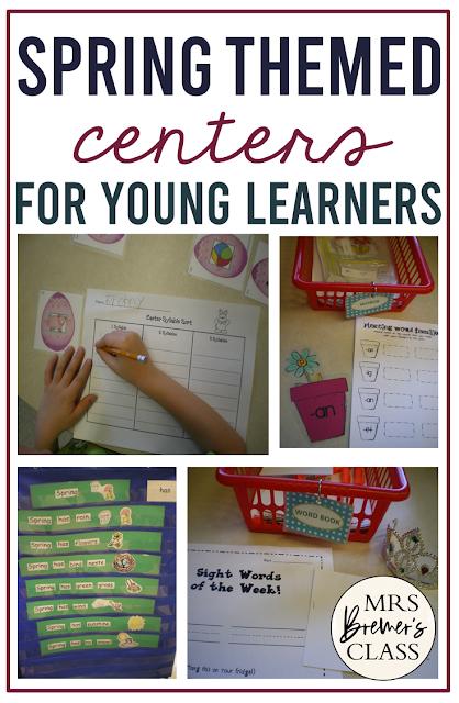 Spring themed literacy centers for Kindergarten
