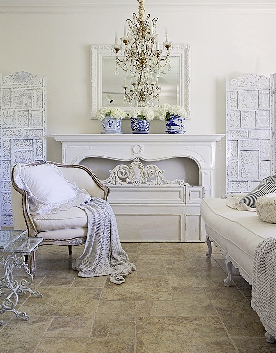french living room with blue and white