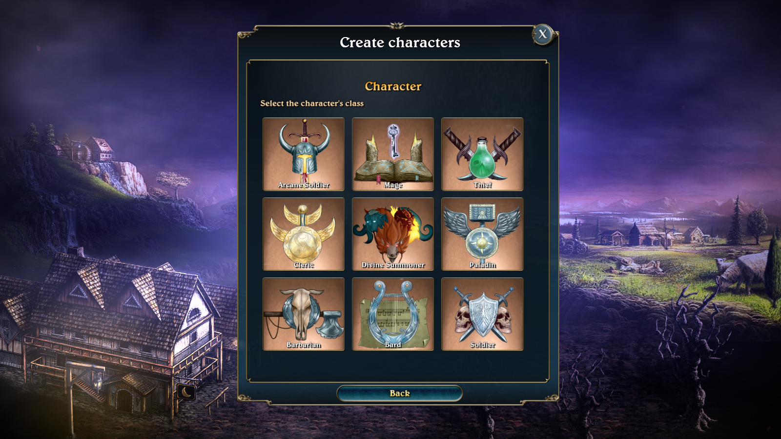 Class selection with 9 classes in Lords of Xulima.