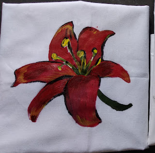 fabric painting on clothes, step by step tutorial, beginners fabric painting, flower painting, easy tutorial,  easy tutorial, fabric painting