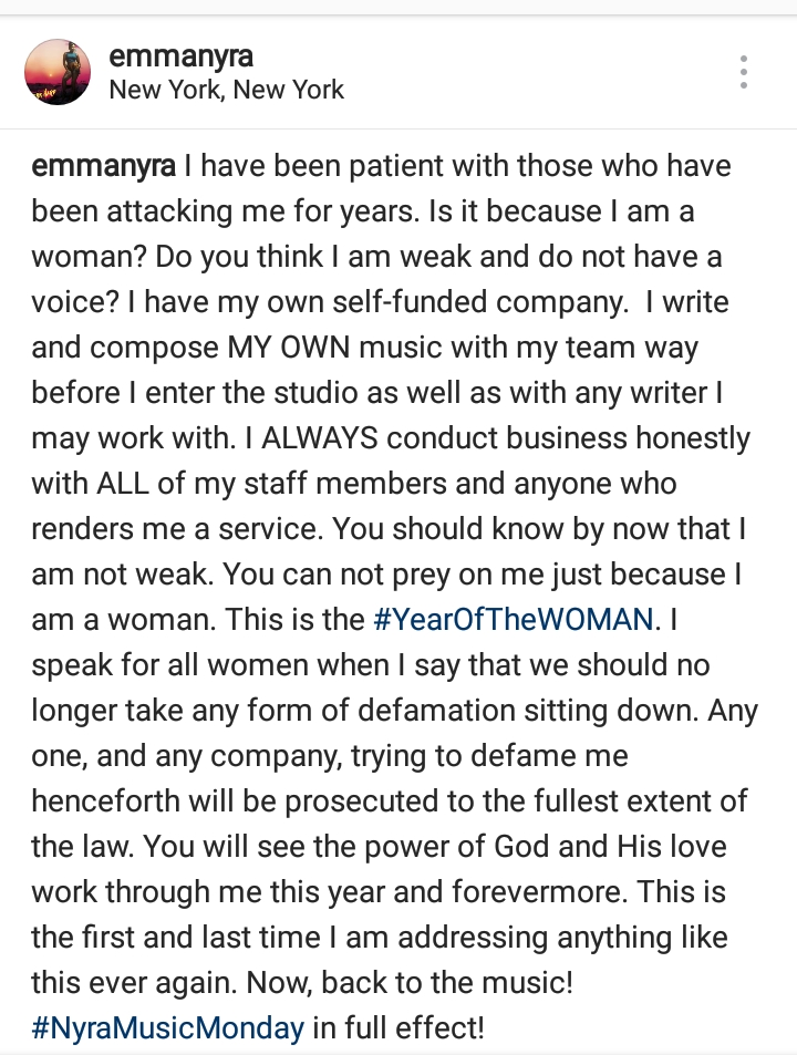 """""""Anyone Trying To Defame Me Henceforth Will Face The Full Wrath Of Law"""" - Emma Nyra"""