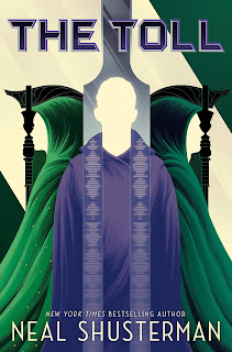 Three robed figures: The one on the right and the left hold face outwards in green robes, holding up scythes which form the impression of a face between their hoods and the scythe staves. The third person faces forwards in blue robes with a stole, the outline of their head is formed by the large tuning fork hanging down behind them.