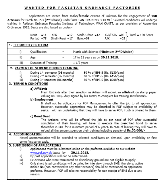 POF JOBS for Matric Pakistan ordinance Factories PAF NAVY ARMY
