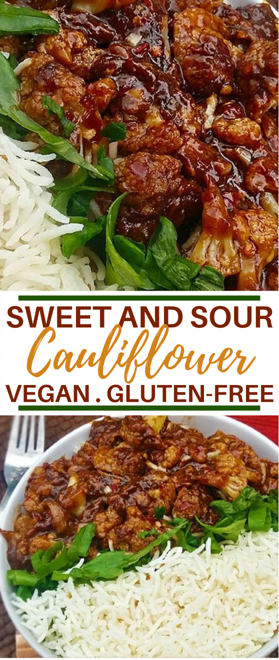VEGAN SWEET AND SOUR CAULIFLOWER #vegan #recipes #cauliflower #dinner #chinesefood