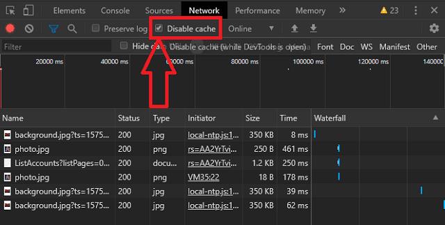 كيفية تعطيل ذاكرة التخزين المؤقت في متصفح كروم