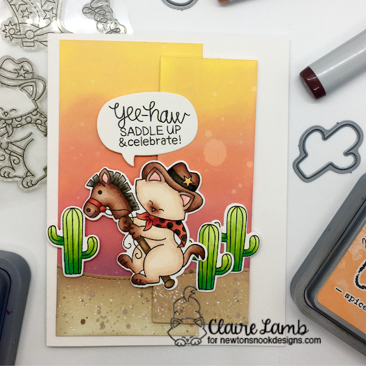Yee-haw by Claire features Newton Rides West, Speech Bubbles, and Land Borders by Newton's Nook Designs; #inkypaws, #newtonsnook, #carcards, #cardmaking