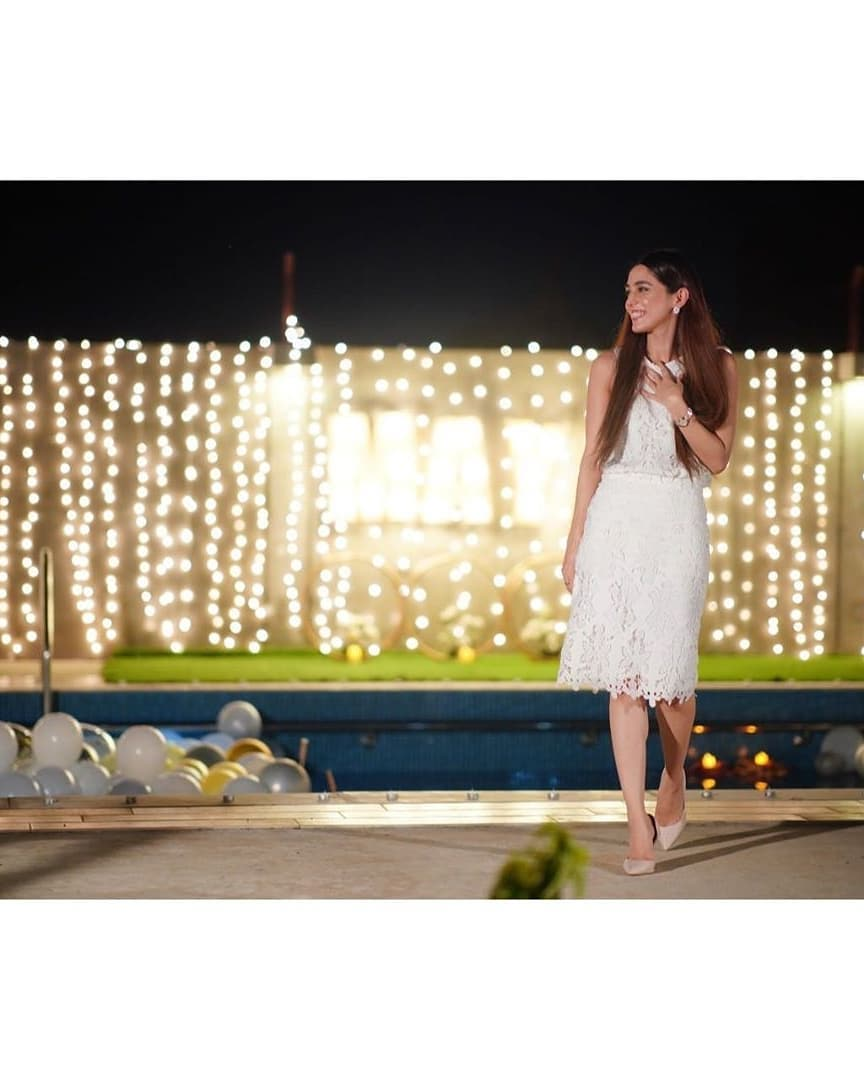 Birthday Celebrations - Maya Ali Looking Gorgeous in White Dress
