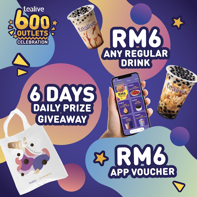 Tealive Belanja Semua Jenis Minuman Dengan Harga RM6 Sahaja