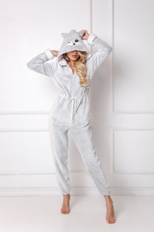 Aruelle - Salopeta pijama din material pufos cu gluga