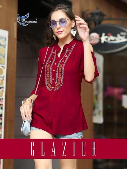 Seriema Glazier Rayon Western Tops wholesale Price
