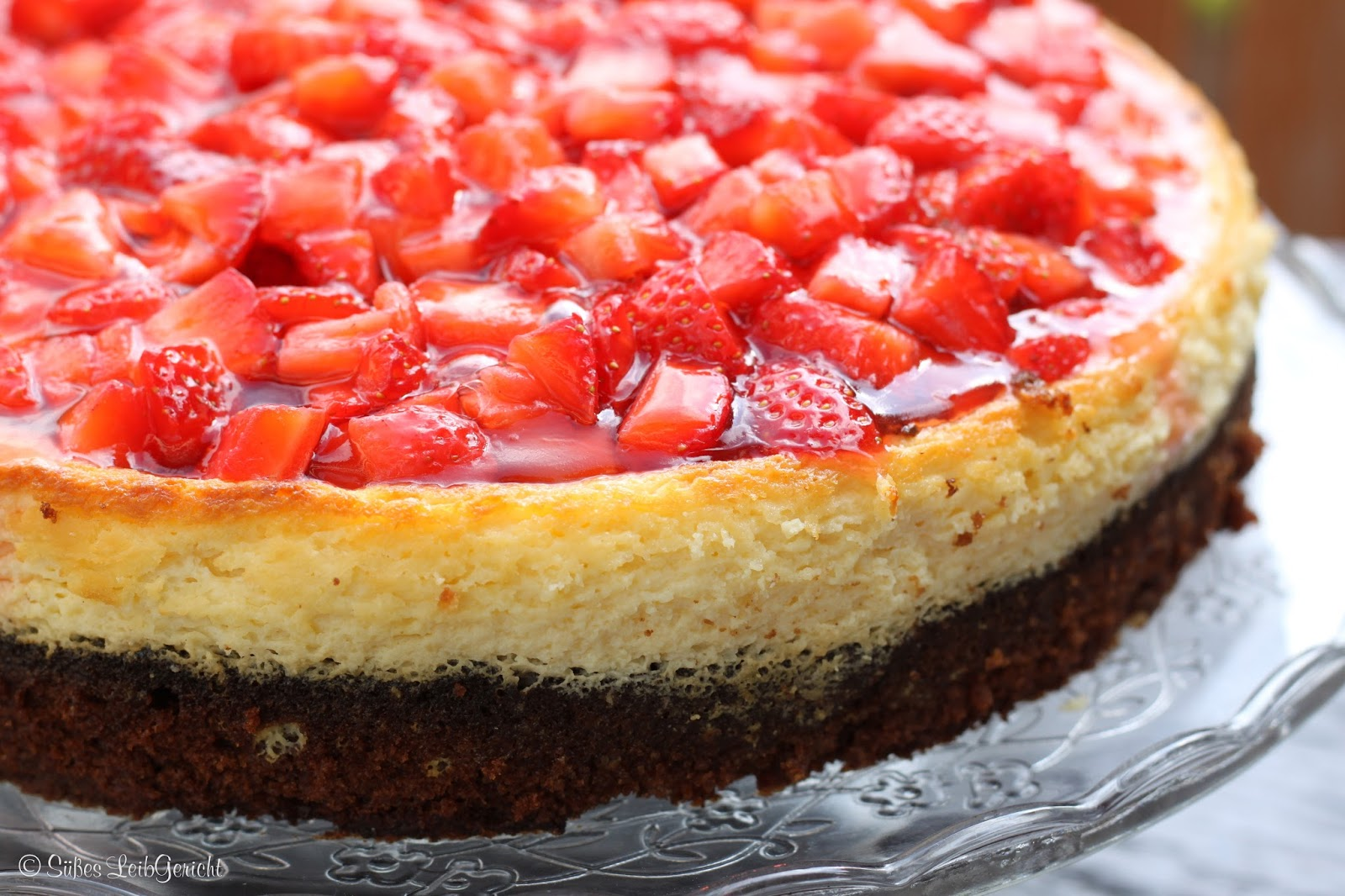 Susses Leibgericht Erdbeer Kasekuchen Mit Schokoladenboden