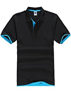 Buy NEWCOSPLAY Men's Short-Sleeve Double Color Collars Polo Shirt
