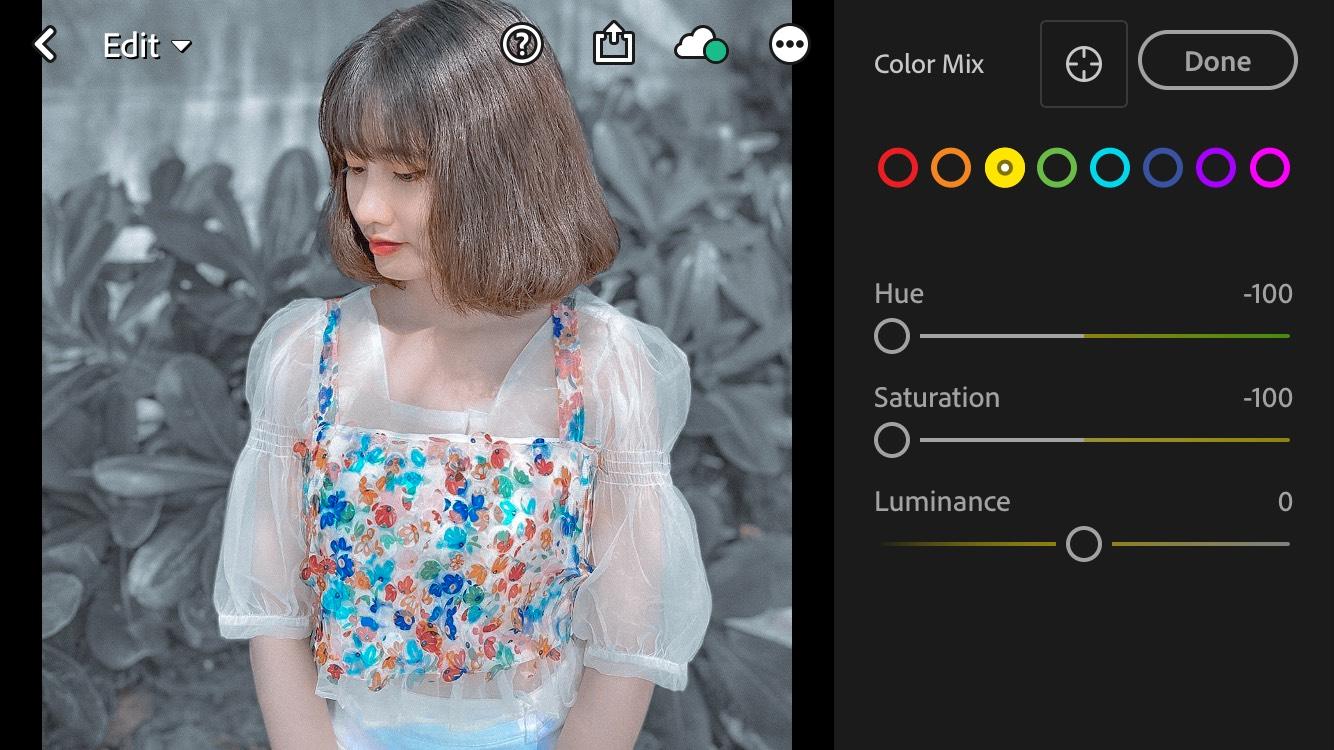Chia sẻ công thức màu Xám Khói app Lightroom