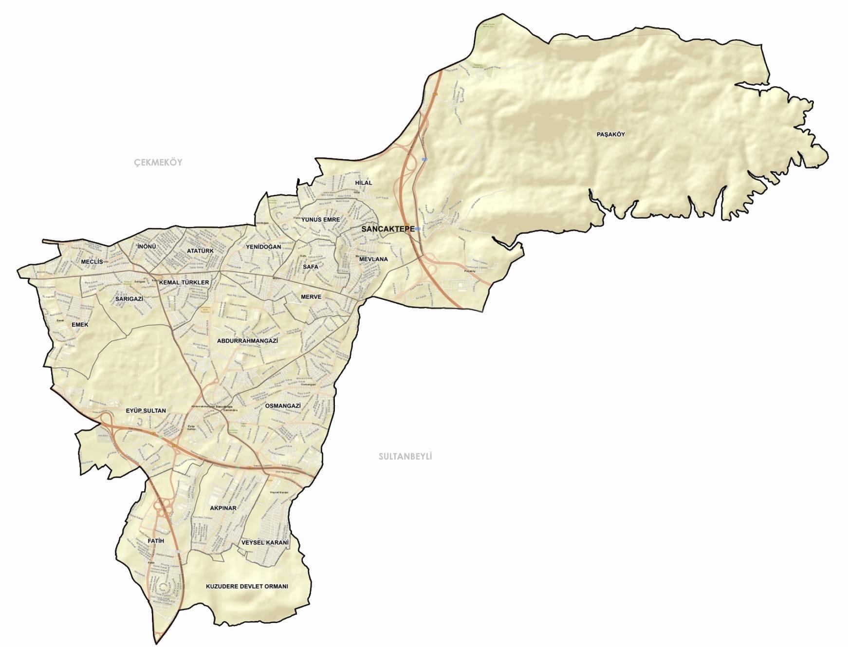 Sancaktepe Mahalle Haritası