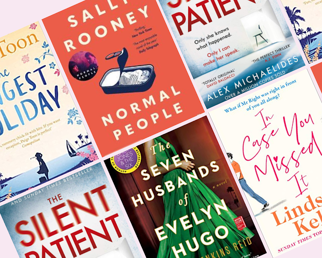 collage - book covers, Normal People, The Longest Holiday, The Silent Patient, The Seven Husbands of Evelyn Hugo, In Case You Missed It