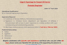 Urgent openings for Kuwait oil sector process engineer