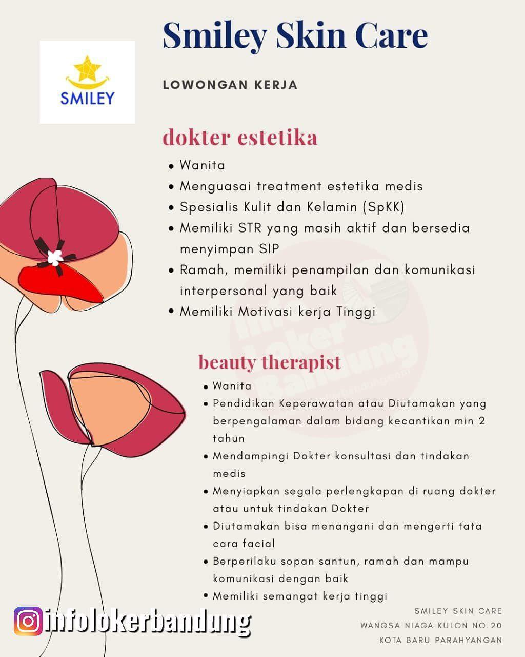 Lowongan Kerja Dokter Estetika & Beauty Therapist Smiley Skin Care Bandung November 2019
