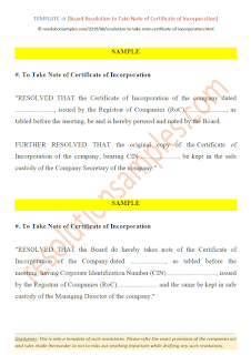 Board Resolution to Take Note of Certificate of Incorporation