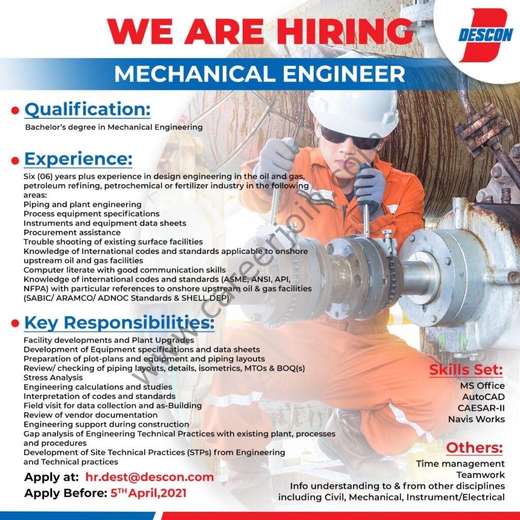 Latest Jobs 2021 in Descon Pakistan