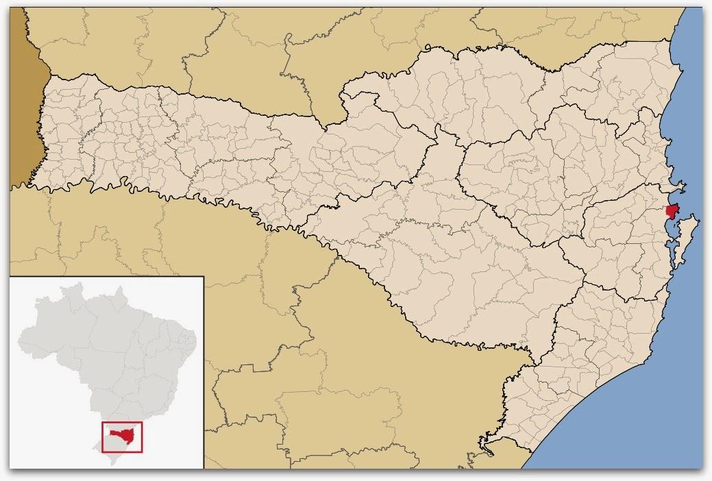 Cidade de Governador Celso Ramos, no mapa de Santa Catarina