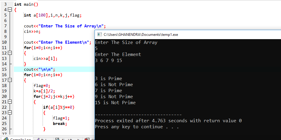 C++ Program To Check Primeness Of An 1-D Array