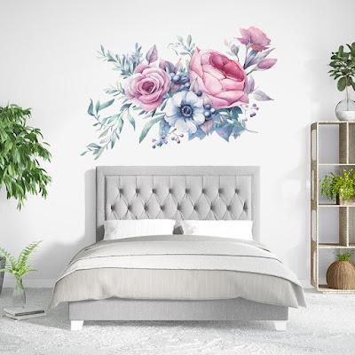 vinilo flores habitación matrimonio