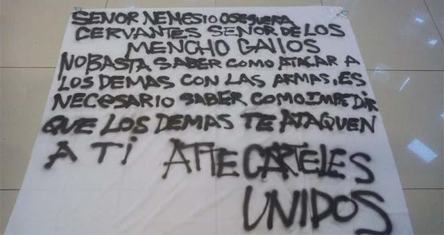 """""""Reviven"""" a los """"Carteles Unidos"""" y le dejan narcomensaje a """"El Mencho"""" en Zamora, Michoacán"""