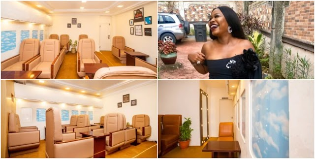 Nigerian lady wows social media with her simulated airplane restaurant
