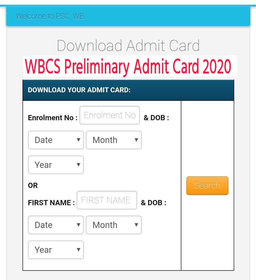 WBCS Admit Card 2020