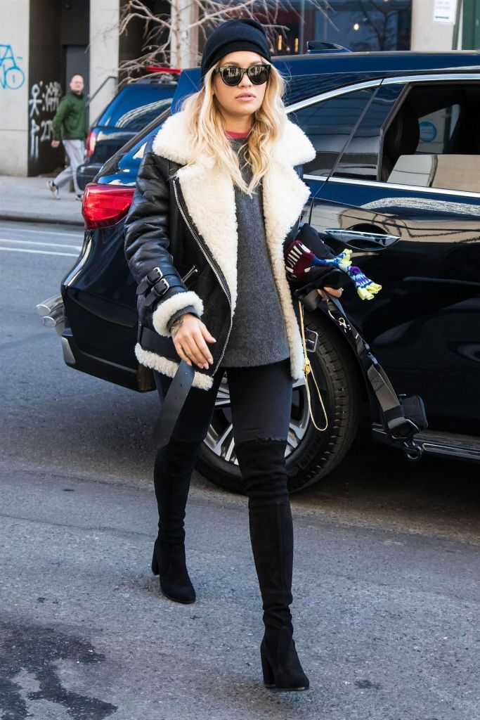 Rita Ora Street Style Out in Moto Jacket in New York Photos