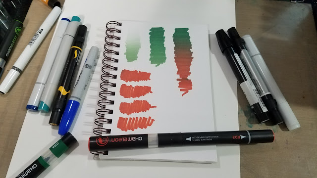 Comparison photo of Chameleon Color Tone marker, Sharpie Brush marker, Prismacolor Brush marker, Stylefile marker, Copic Sketch marker, and Chameleon Color Top