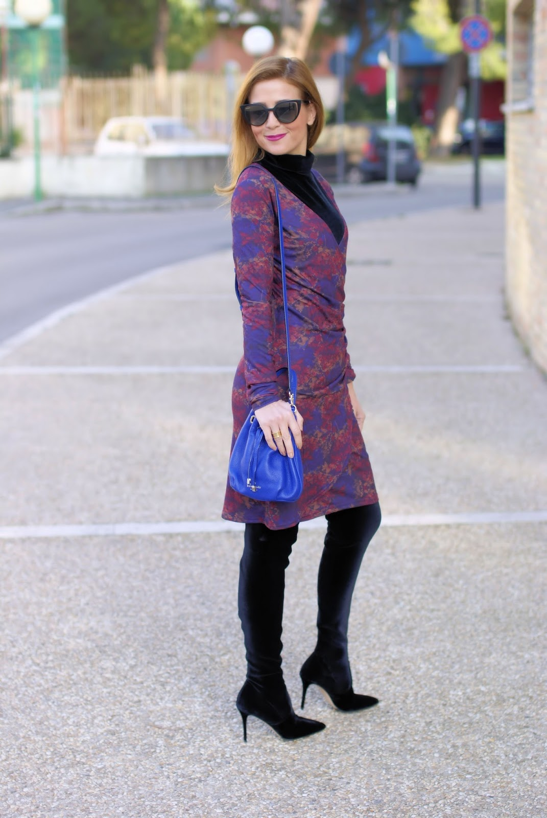 How to wear a wrap dress in winter, Avelina Smash! dress and Le Silla velvet over the knee boots on Fashion and Cookies fashion blog, fashion blogger style