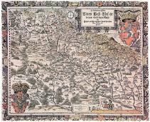 Mapa Śląska Helwiga z 1561 r. Fot. https://szl.wikipedia.org/wiki/Plik:Mapa_Slezska_1561_Helwig.jpg