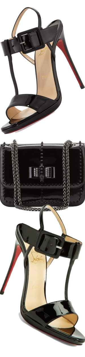 Christian Louboutin Sweet Charity Patent Spike Shoulder Bag, Black