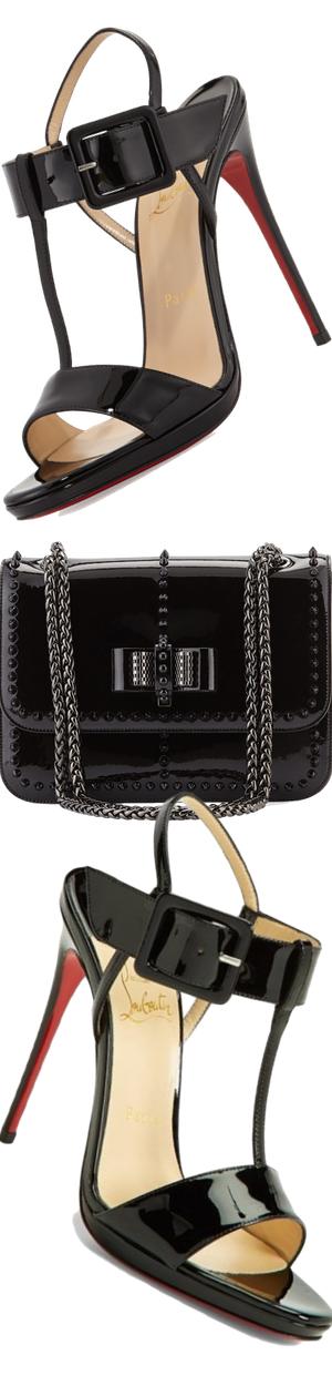 Christian Louboutin Sweet Charity Patent Spike Shoulder Bag, Black