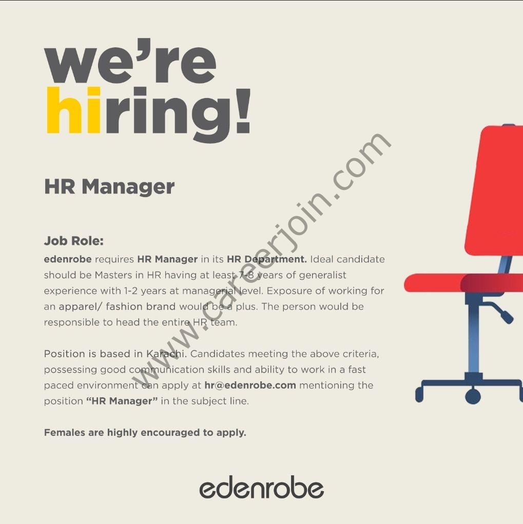 hr@edenrobe.com - Edenrobe Jobs 2021 in Pakistan