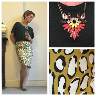 Boden print pencil skirt, &OtherStories top, Warehouse necklace