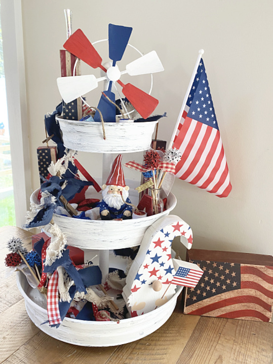 tiered tray with red, white and blue items