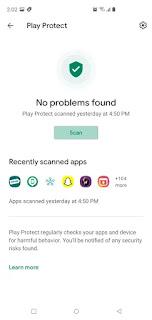 Play Store Protect Scan posibles problemas con la aplicación