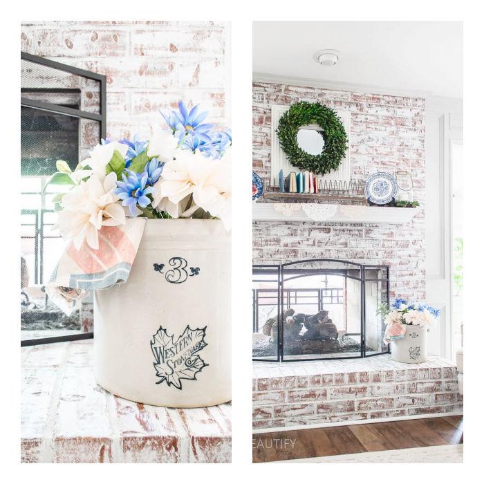 vintage crock with flowers and vintage feedsack
